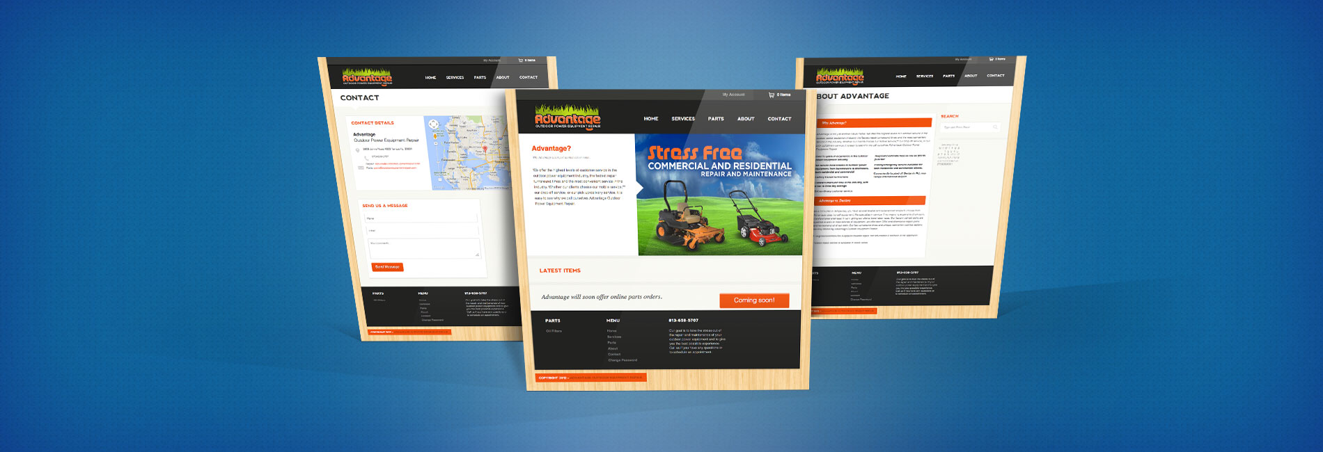 advantage equipment repair website design